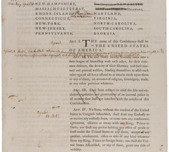 Articles of Confederation with handwritten annotations, April-November 1777
