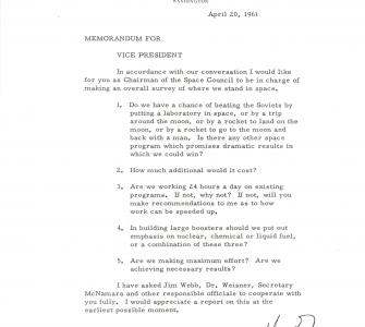 Memo from President John F. Kennedy to Vice President Lyndon Johnson, April 20, 1961