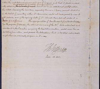President Jefferson's Confidential Message to Congress