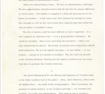 President John F. Kennedy's Message to Congress