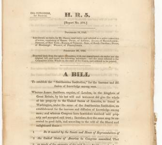 H.R. 5, 28th Congress, Bill to Establish the Smithsonian Institution, 1846