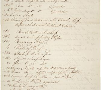 List of Supplies and Indian Presents for Lewis and Clark Expedition, ca. June 1803