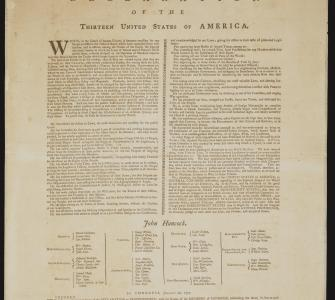 "Congress authorized Goddard to produce this copy of the Declaration of Independence. It was the first typeset copy to include the names of signers who attested, "". . . for the support of this Declaration, with a firm Reliance on the Protection of DIVINE PROVIDENCE, we mutually pledge to each other our Lives, our Fortunes, and our sacred Honour."""