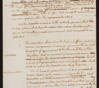Thomas Jefferson's Drafts and Notes on the Virginia Constitution, June 1776