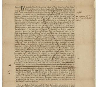 HR 41, A Bill to Promote the Progress of the Useful Arts (the Patent Act), March 10, 1790