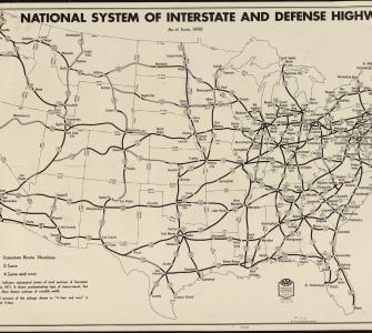 Map of National System of Interstate and Defense Highways, 1958