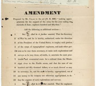 Amendment to H.R. 336 authorizing the Secretary of War to organize a survey for a railroad route to the Pacific Ocean, February 24, 1853