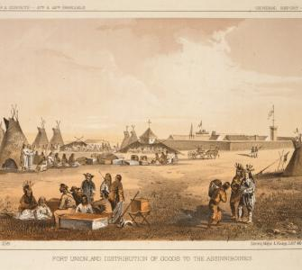 "Chromolithograph, ""Fort Union and Distribution of Goods to the Assinniboines [Assiniboines],"" U.S. Pacific Railroad Explorations and Surveys, ca. 1855"