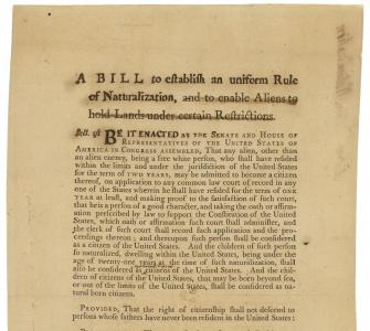 H. R. 40, Naturalization Bill, March 4, 1790