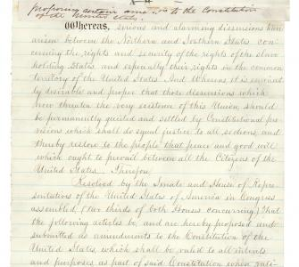 S.J. Res. 50, proposing certain amendments to the U.S. Constitution (Crittenden's Compromise), December 18, 1860