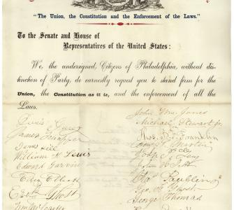"Petition from the citizens of Philadelphia praying for Congress to stand firm on the ""Union, the Constitution, and the Enforcement of Law,"" February 5, 1861"