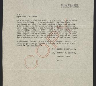 Letter from Oliver V. Borden of Auburn, Nebraska to REA of Syracuse, Nebraska, March 8, 1940