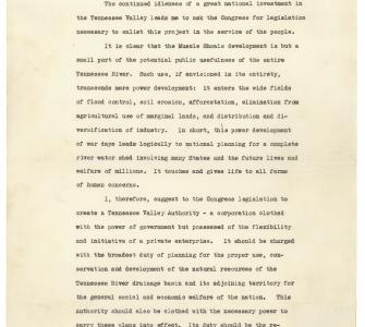 President Franklin D. Roosevelt's Message to Congress on the Tennessee Valley Authority, April 10, 1933