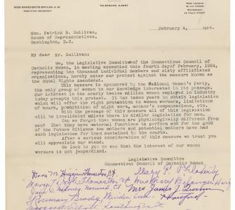 Petition against ERA, Diocesan Bureau of Social Service, Hartford, Connecticut, February 4, 1924