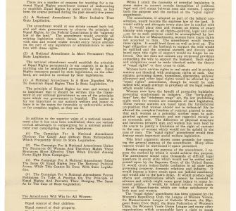 Leaflet issued by the Legislative Council, Boston, with arguments for and against ERA, February 1924