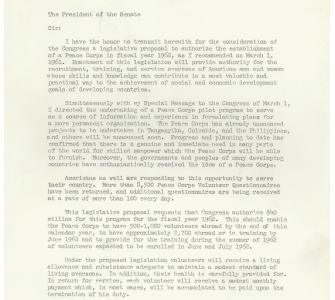 Letter from President Kennedy to Lyndon B. Johnson regarding the Peace Corps Bill, May 29, 1961