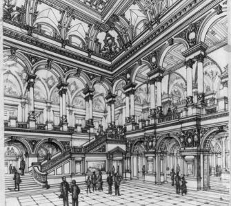 """Congressional Library Building, view of Great Hall,"" Smithmeyer and Pelz, architects, ink on paper, 1888"