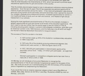 """Celebrate the 25th Anniversary of Title IX!"" Dear Colleague Letter, ca. June 23, 1997"
