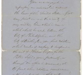 Order from President Abraham Lincoln to General Winfield Scott suspending the Writ of Habeas Corpus, April 27, 1861