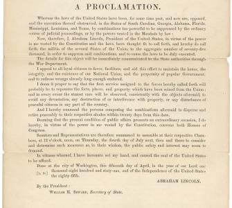 A Proclamation by the President of the United States, April 15, 1861
