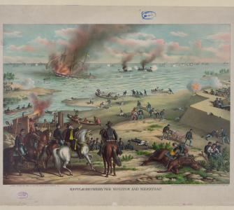 Color lithograph, Battle Between the Monitor and Merrimac, Kurtz and Allison, Art Publishers, Chicago, ca. 1889