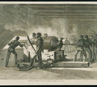 Wood engraving, interior of the Merrimac during combat with the Monitor, Le Monde Illustré, ca. 1862–1865