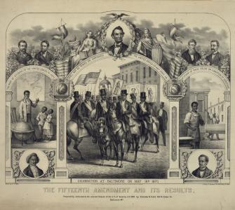 Lithograph, The Fifteenth Amendment and its Results, drawn by G.F. Kahl, Baltimore, lithograph by E. Sachse & Co., c. 1870