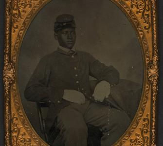 Ambrotype, Portrait of black soldier, no date, Gladstone Collection