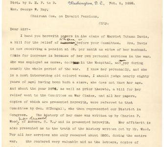 Letter from Representative Sereno E. Payne to Representative George Ray on behalf of Harriet Tubman Davis, February 5, 1898 - Page 1