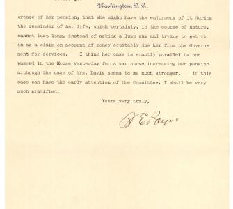 Letter from Representative Sereno E. Payne to Representative George Ray on behalf of Harriet Tubman Davis, February 5, 1898 - Page 2