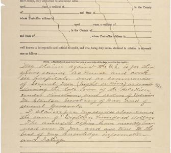 General Affidavit of Harriet Tubman Davis Regarding Payment from Government for Services Rendered During the Civil War, ca. 1898