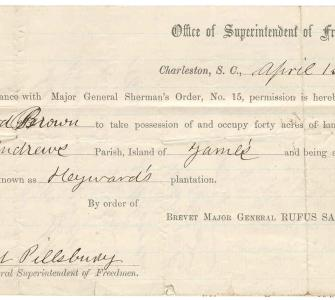 Land order for Richard Brown, April 1, 1865 (Charleston, South Carolina)