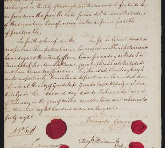 Treaty of Guadalupe Hidalgo, manuscript, signed with wax seals February 2, 1848