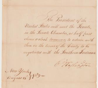 Message from President George Washington to United States Senate, August 21, 1789