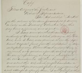 Abraham Lincoln's draft message to Congress on D.C. Emancipation, Wednesday, April 16, 1862