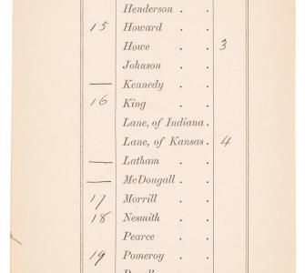 Roll call for a vote on the Morrill Act, U.S. Senate, June 10, 1862