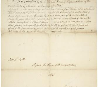 House Declaration of War, June 4, 1812, with Senate Amendments, June 17, 1812