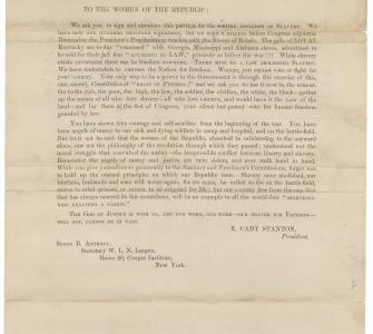 Women's Emancipation Petition with circular from Elizabeth Cady Stanton, January 25, 1864