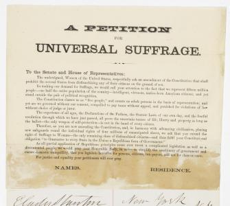 A Petition for Universal Suffrage, January 19, 1867