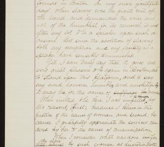 Frederick Douglass's draft for a speech on woman suffrage at Tremont Temple