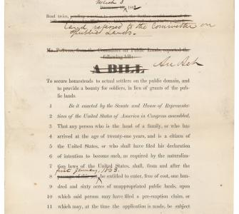 H.R. 125, The Homestead Act, printed House bill with Senate changes, March 3, 1862