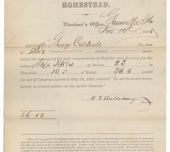 Receipt for homestead application of Lucinda Lockhart, San Francisco, California