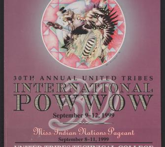 30th Annual United Tribes International Powwow, Bismarck, North Dakota, program art by Alden Archambault (Standing Rock Sioux), September 1999