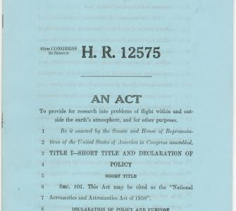H.R. 12575, National Aeronautics and Astronautics Act of 1958, June 3, 1958