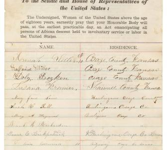Women's Emancipation Petition, Women of Kansas, 1864
