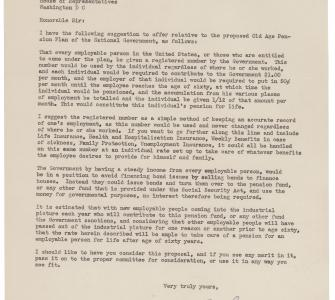 Letter from A.E. Bosley in Support of a Social Security Program, March 5, 1935