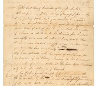 Report from the Joint Committee on the Library of Congress regarding the purchase of Thomas Jefferson's library, November 28, 1814