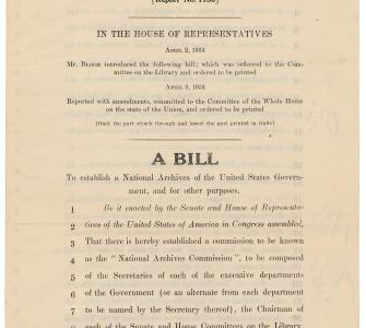 H.R. 8910, A Bill to establish a National Archives of the United States Government, April 16, 1934