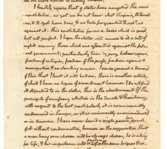 Letter from Thomas Jefferson to James Monroe regarding a Bill of Rights, August 9, 1789