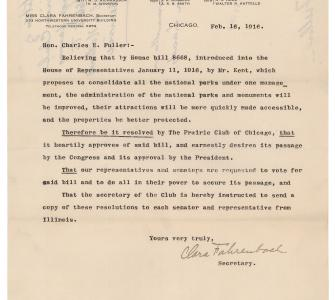 Petition from the Prairie Club of Chicago in support of establishing a National Park Service, February 16, 1916